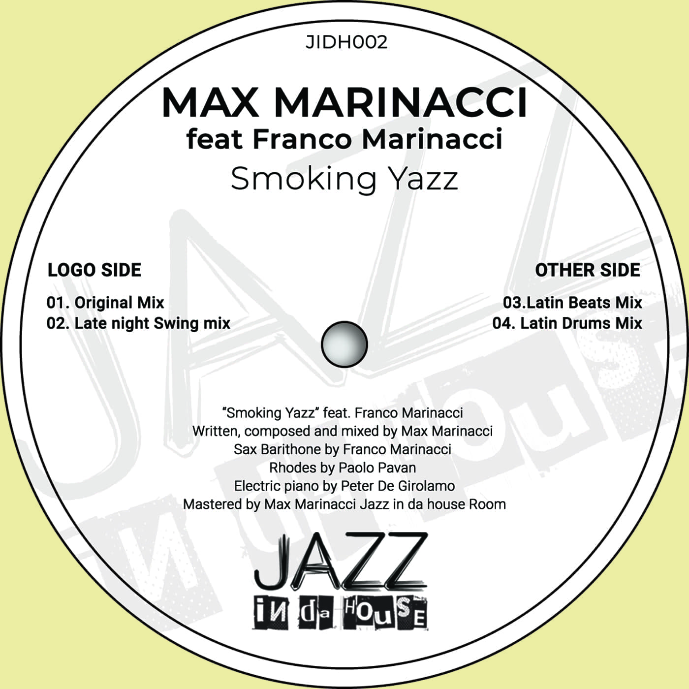 "Max Marinacci announces ""Smoking Yass"", the second EP on the brand new Label Jazz In Da House"