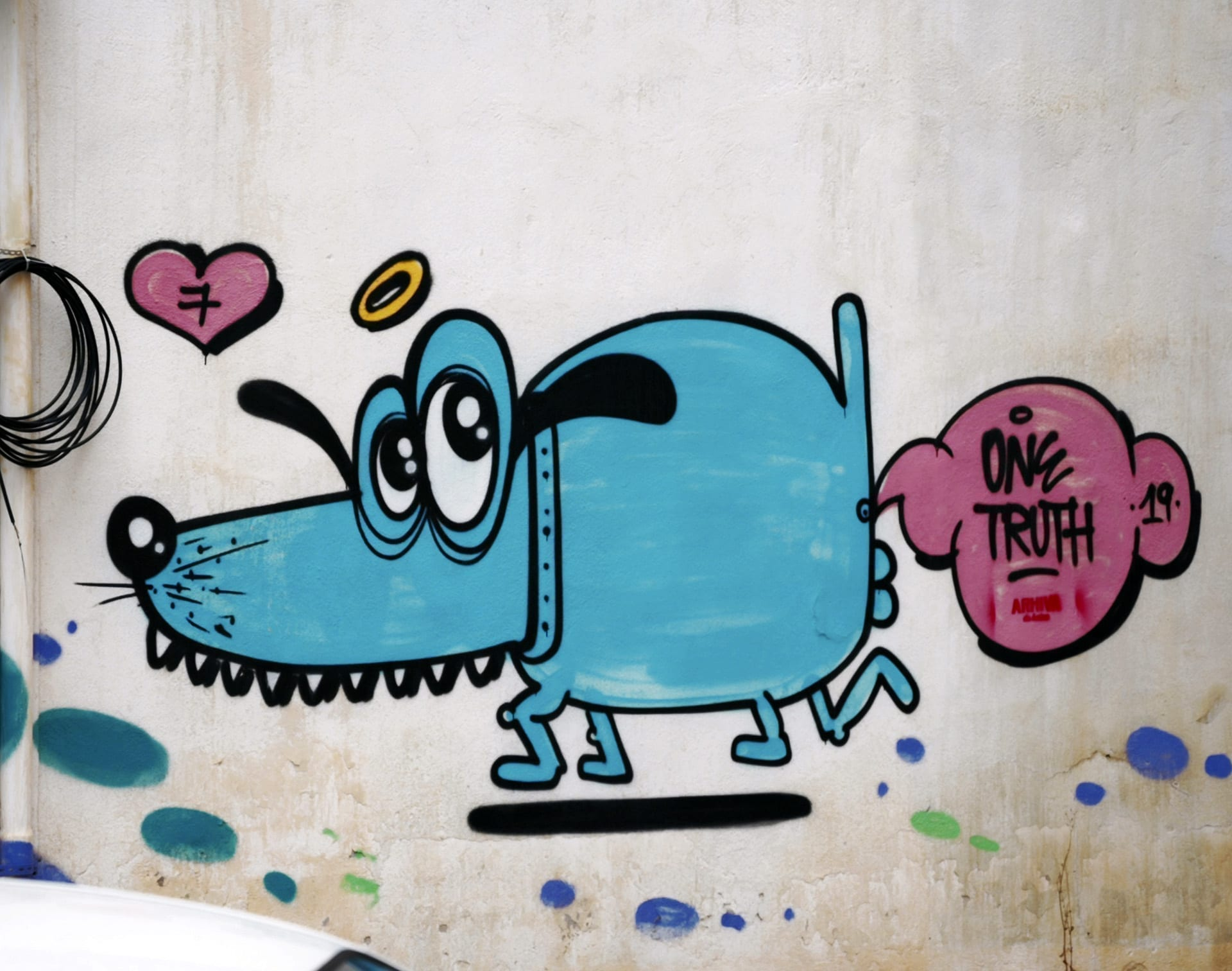 One Truth Graffiti (CH) street dog in Bucharest 2019