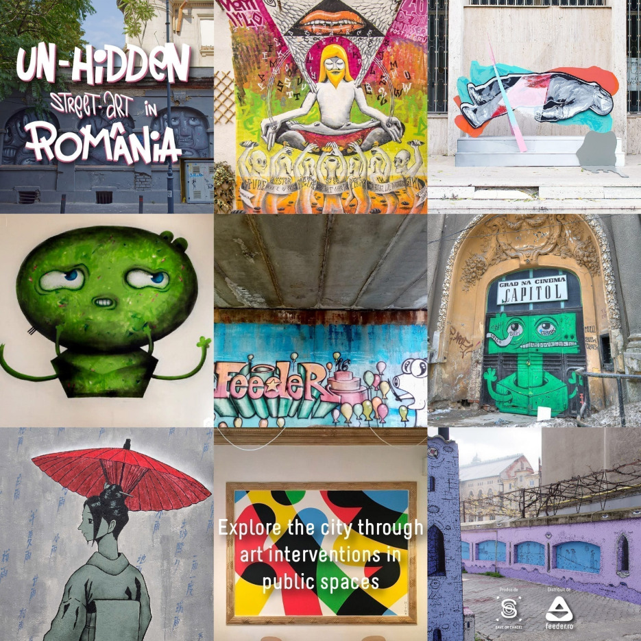 Discover remarkable murals and street art installations commissioned by Save or Cancel x feeder.ro