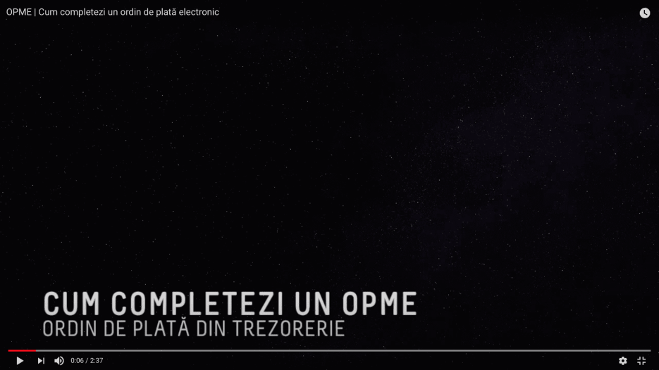 VIDEO cum completezi un ordin de plată electronic (OPME) pentru transfer online din contul de trezorerie
