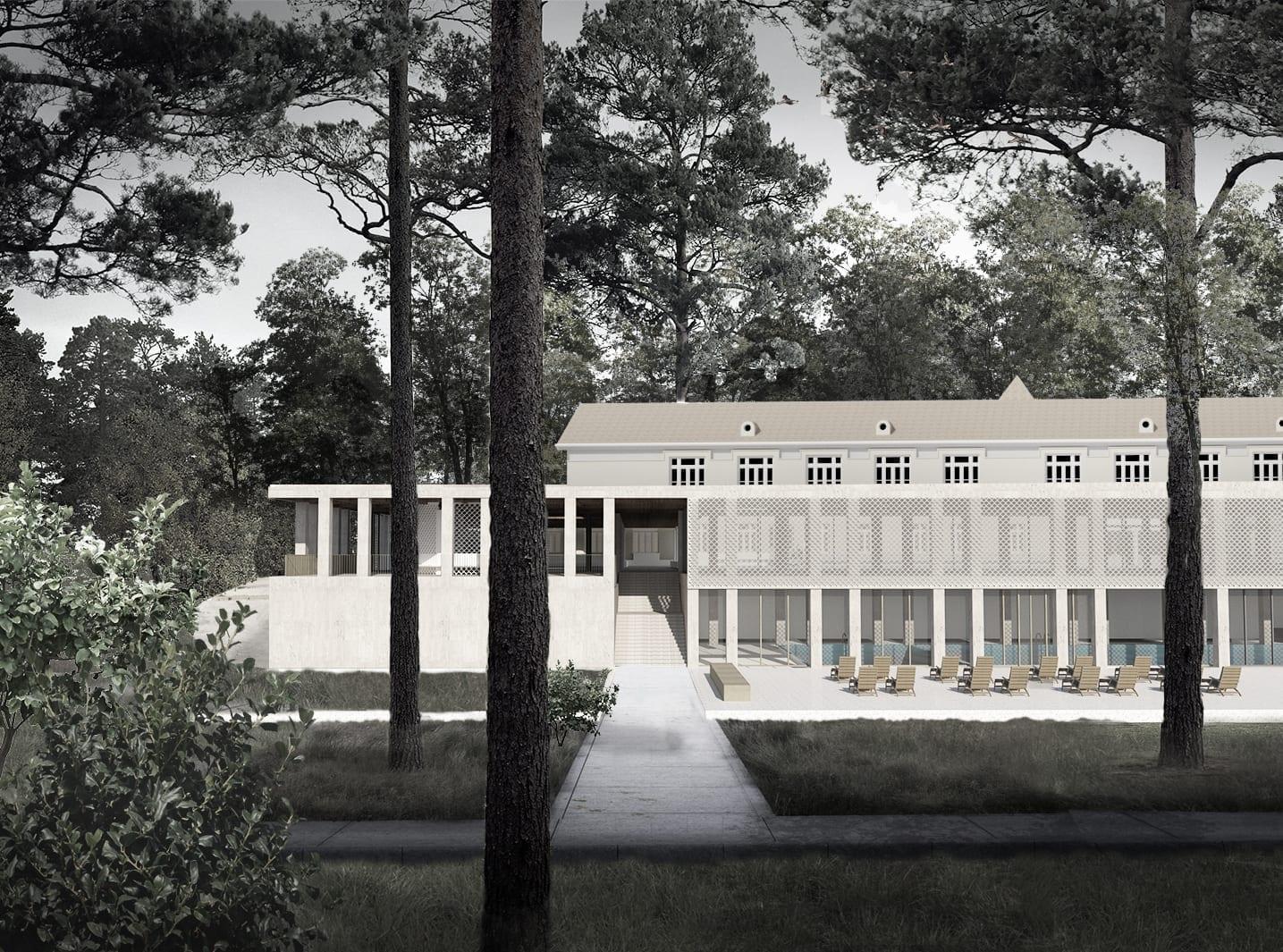 STEFANIA HIRLEATA Extinderea ansamblului Pavilionului de Băi, Băile Govora 2019 / DIPLOMA Viewing Rooms // The New Now,o colecție de lucrări de arhitectură îngrijită de Eliza Yokina