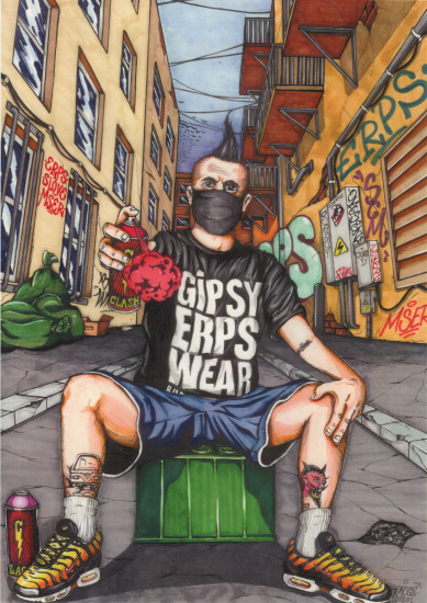 poster signed by graffiti artist ERPS