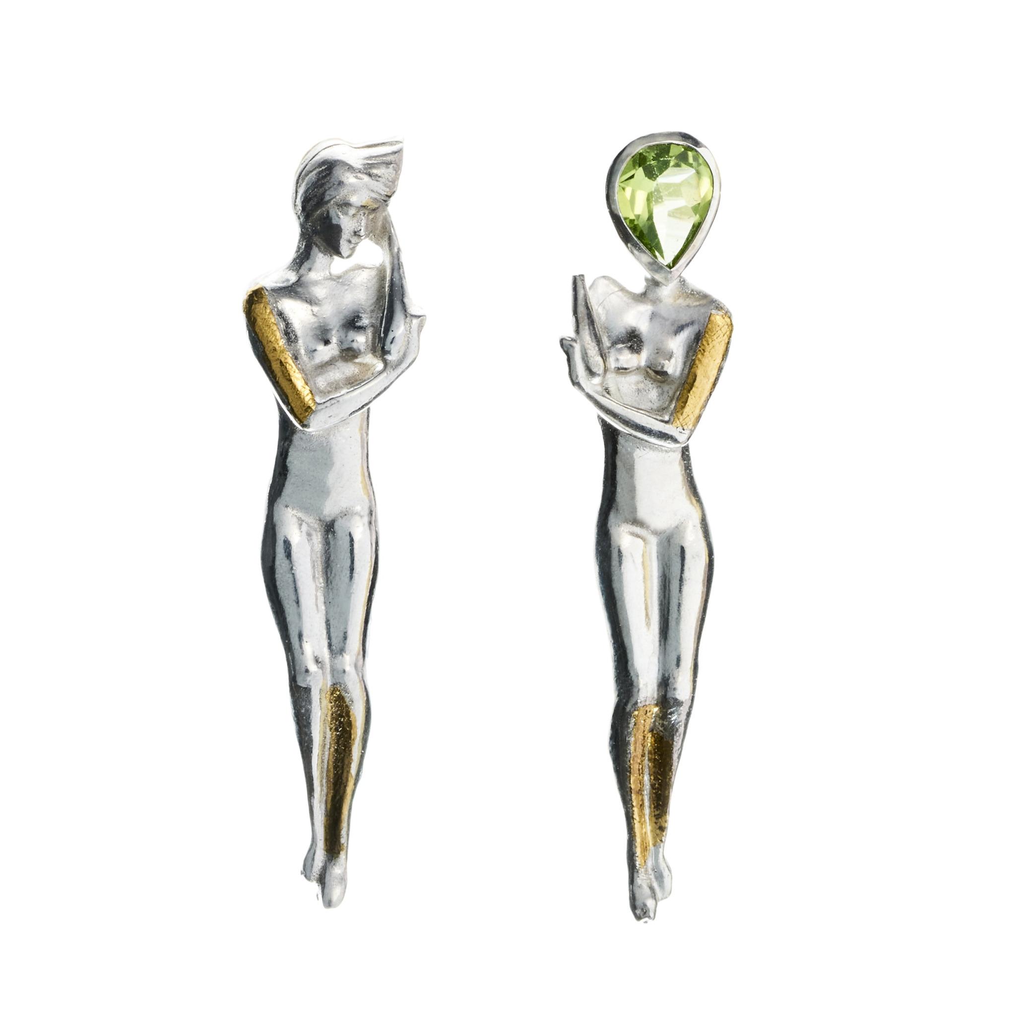 Alice Stoicescu - earrings sterlingsilver goldfoil peridot pearls