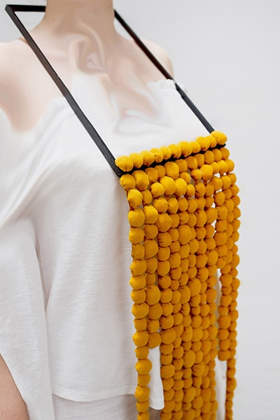 Paula Turnea Romania necklace scraps 2021 wood textile 130 x 20 cm