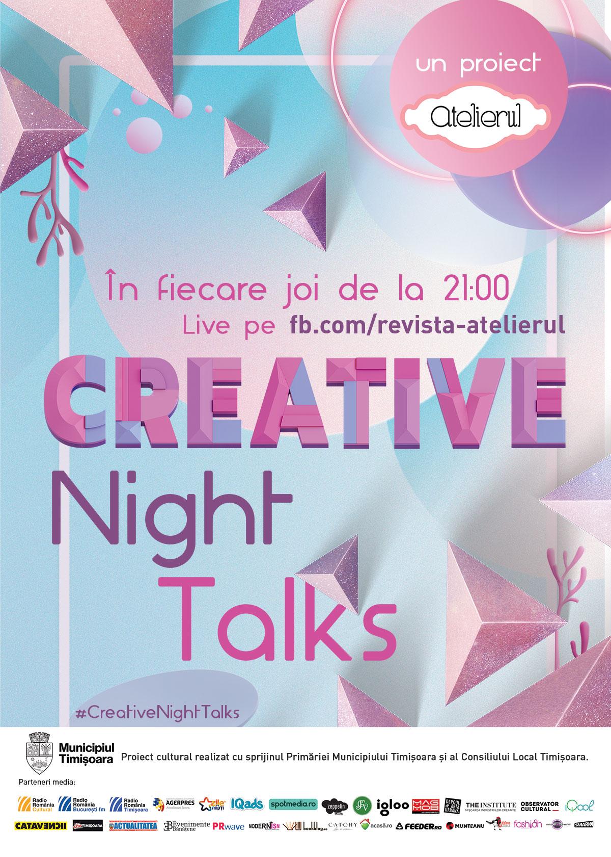 Creative Night Talks în octombrie - despre PR cultural, makerspace, artă contemporană și interdisciplinară